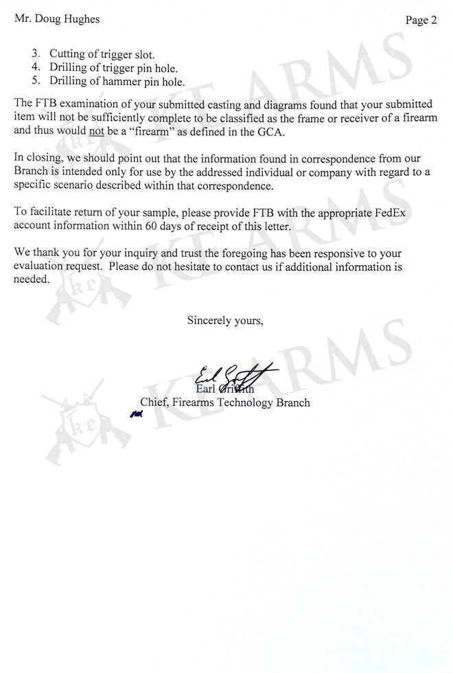 AR 15 ATF Letter of Determination